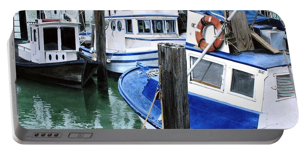 Water Scape Portable Battery Charger featuring the painting Pier 39 by Denny Bond