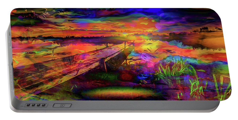 World's Portable Battery Charger featuring the digital art Pier At Sunset by Ron Fleishman