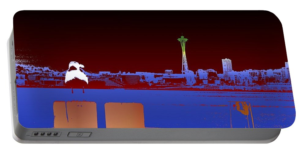 Seattle Portable Battery Charger featuring the digital art Pier With A View by Tim Allen