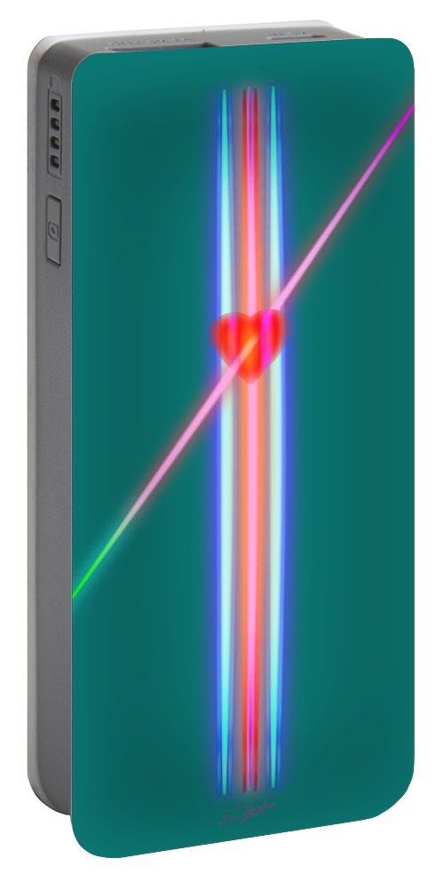 Slit Portable Battery Charger featuring the painting Piercing Desire by Charles Stuart