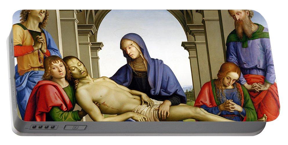Pieta Portable Battery Charger featuring the painting Pieta by Pietro Perugino