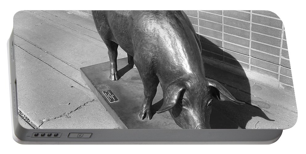 Pig Sculpture Portable Battery Charger featuring the photograph Pig Sculpture Grand Junction Co by Tommy Anderson