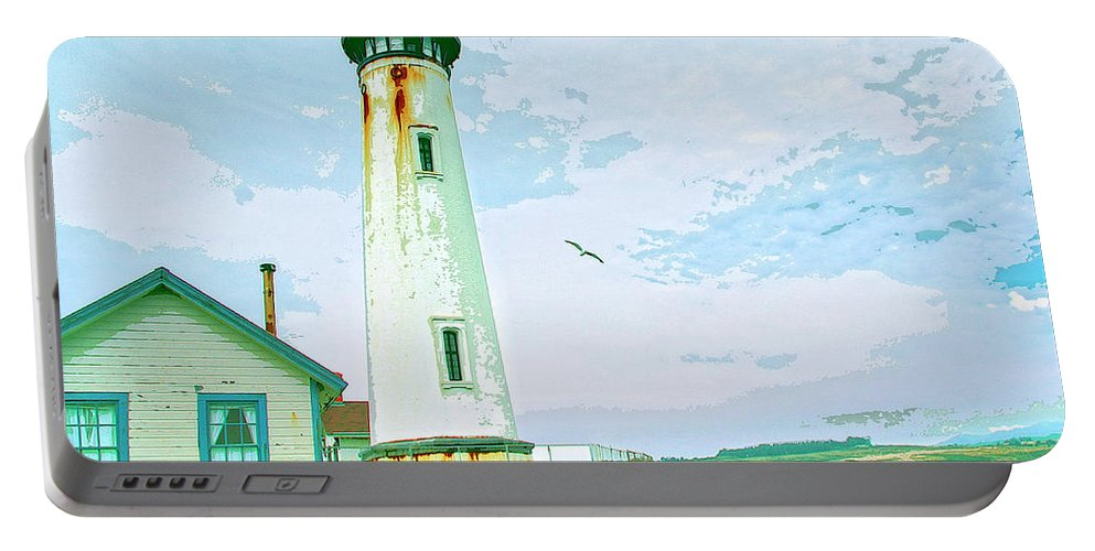 Pigeon Point Portable Battery Charger featuring the mixed media Pigeon Point Lighthouse by Dominic Piperata