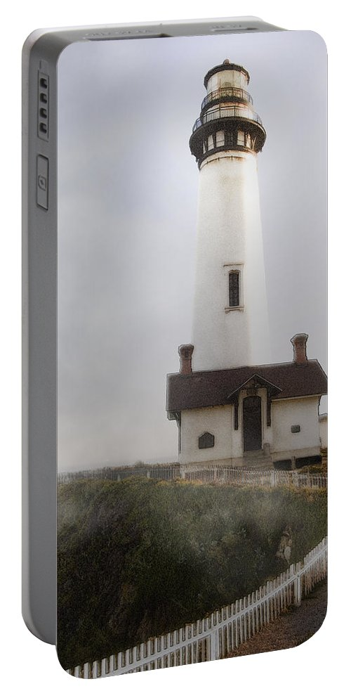 Ocean Portable Battery Charger featuring the photograph Pigeon Point Lighthouse by Karen W Meyer
