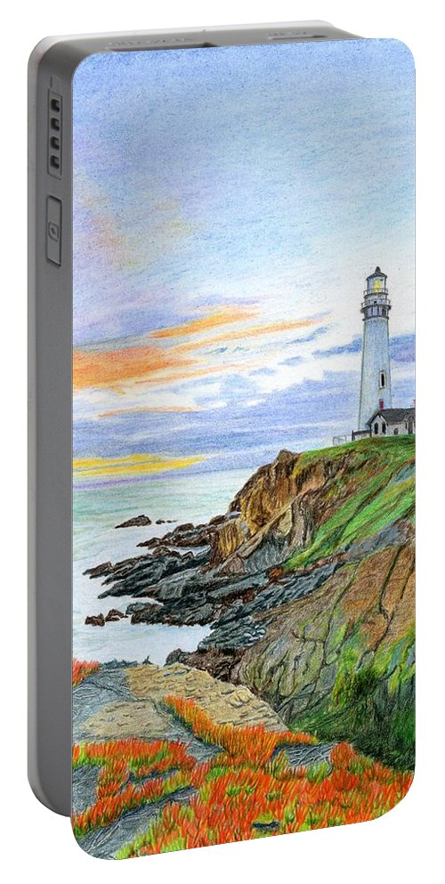 Lighthouse Portable Battery Charger featuring the painting Pigeon Point Sunset by Mike Robles