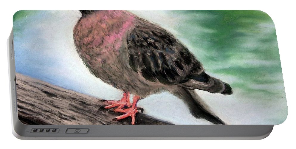 Pigeon Portable Battery Charger featuring the painting Pigeon Toes by Minaz Jantz