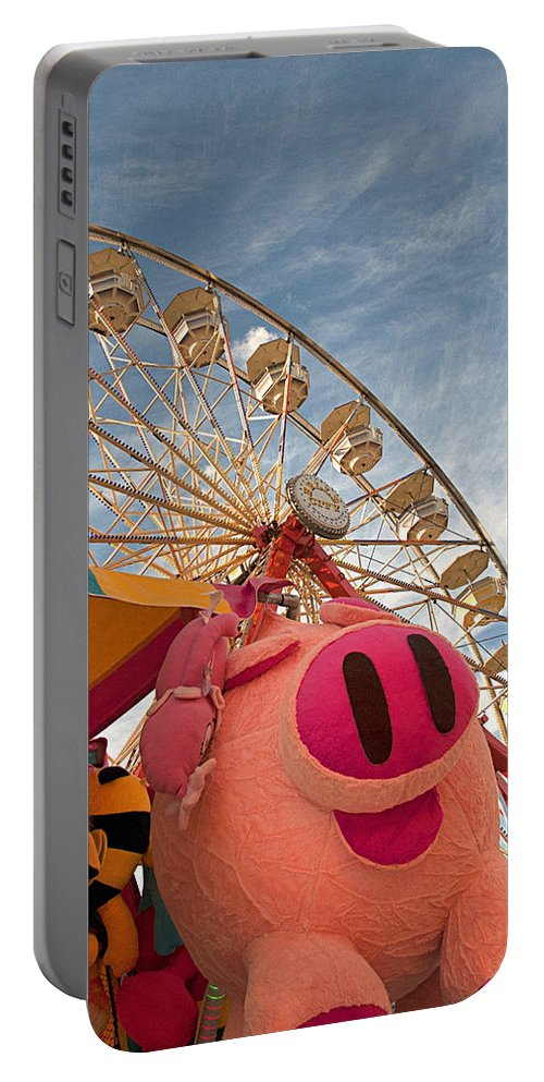 Pigs Portable Battery Charger featuring the photograph Pigs And Puppies And Ferris Wheel - Oh My by Mitch Spence