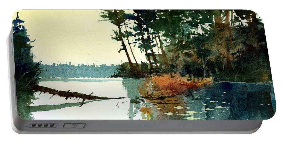 Lakes Portable Battery Charger featuring the painting Pike Alley by Lee Klingenberg