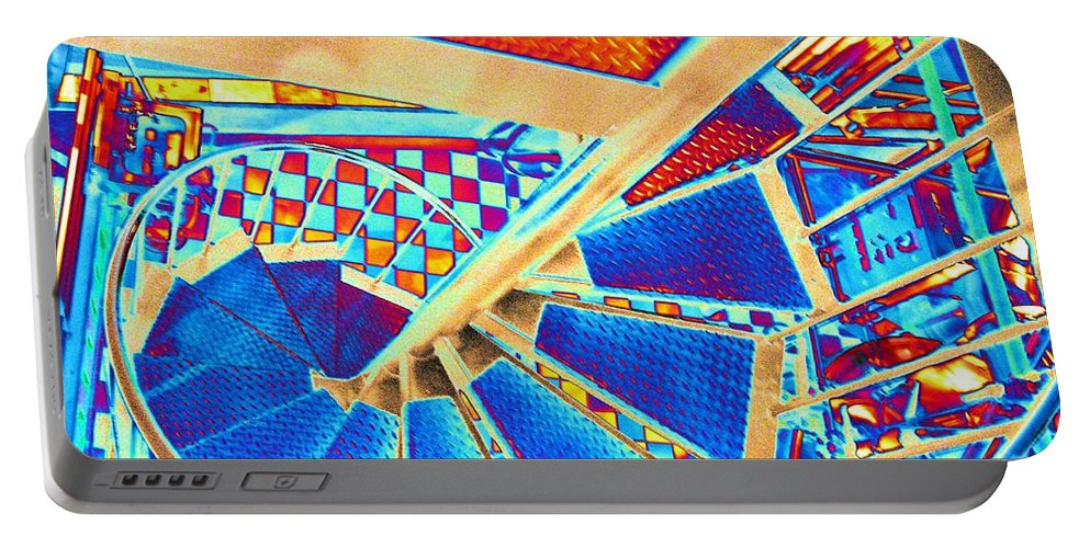 Seattle Portable Battery Charger featuring the digital art Pike Brewpub Stair by Tim Allen