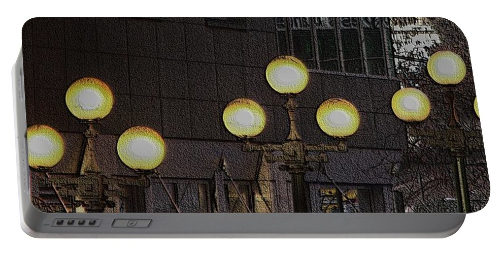 Seattle Portable Battery Charger featuring the digital art Pike Lights by Tim Allen