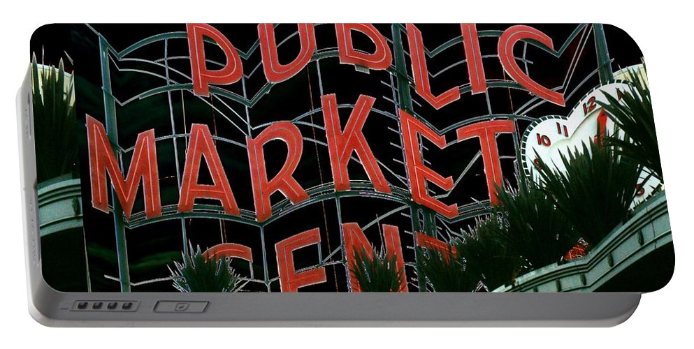 Seattle Portable Battery Charger featuring the digital art Pike Place Market Entrance 5 by Tim Allen