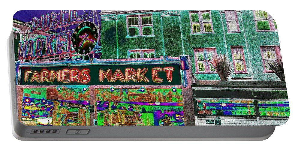 Seattle Portable Battery Charger featuring the photograph Pike Place Market by Tim Allen