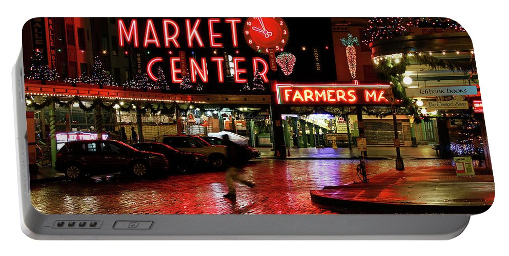 Pike Place Portable Battery Charger featuring the photograph Pike Place Reflections by Jeff Greene