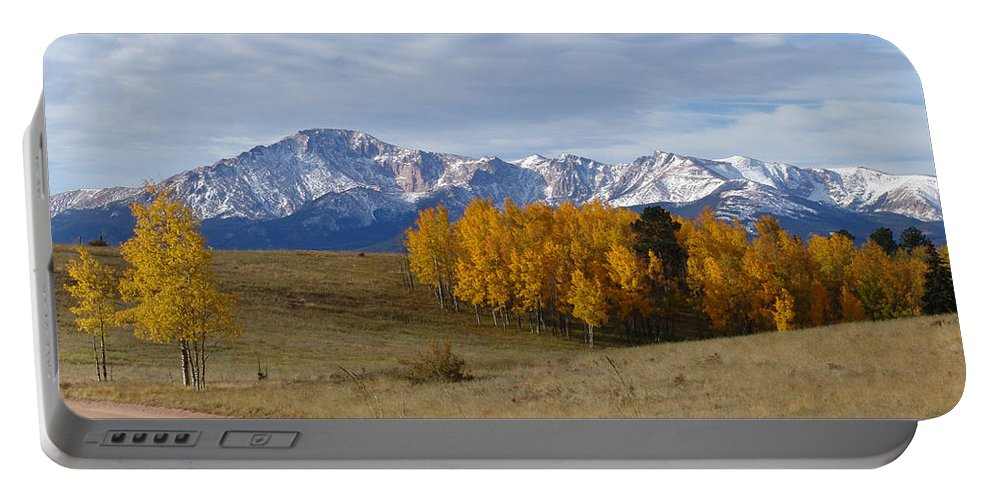 Fall Portable Battery Charger featuring the photograph Pikes Peak In The Fall by Carol Milisen