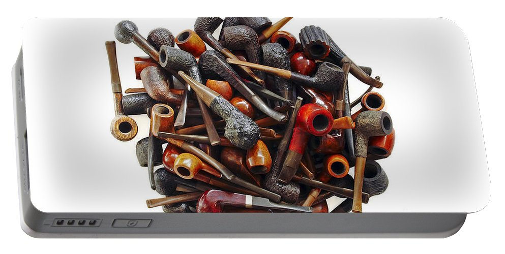 Smoking Pipe Portable Battery Charger featuring the photograph Pile Pipes by Michal Boubin
