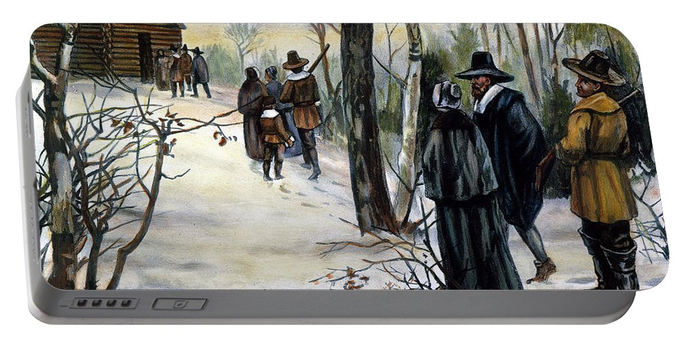 17th Century Portable Battery Charger featuring the photograph Pilgrims: Church by Granger