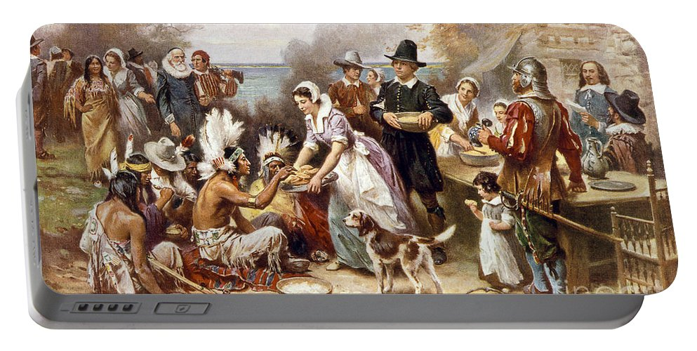 1621 Portable Battery Charger featuring the photograph Pilgrims: Thanksgiving, 1621 by Granger
