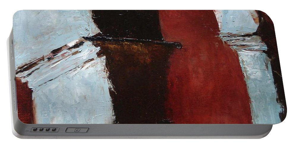 Pillars Portable Battery Charger featuring the painting Pillars Of Society by Barbara Andolsek