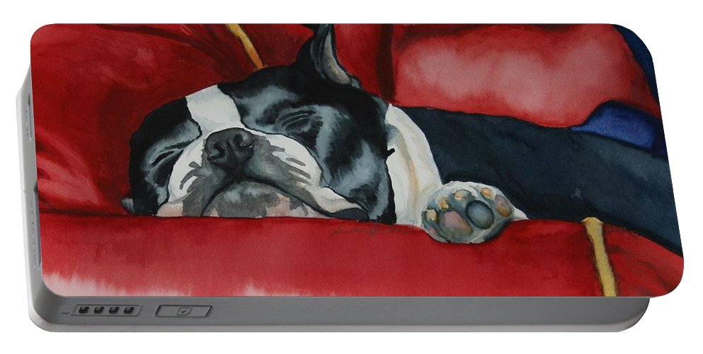 Boston Terrier Portable Battery Charger featuring the painting Pillow Pup by Susan Herber
