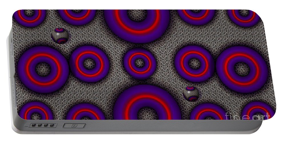 Abstract Portable Battery Charger featuring the digital art Pinball by Ron Bissett