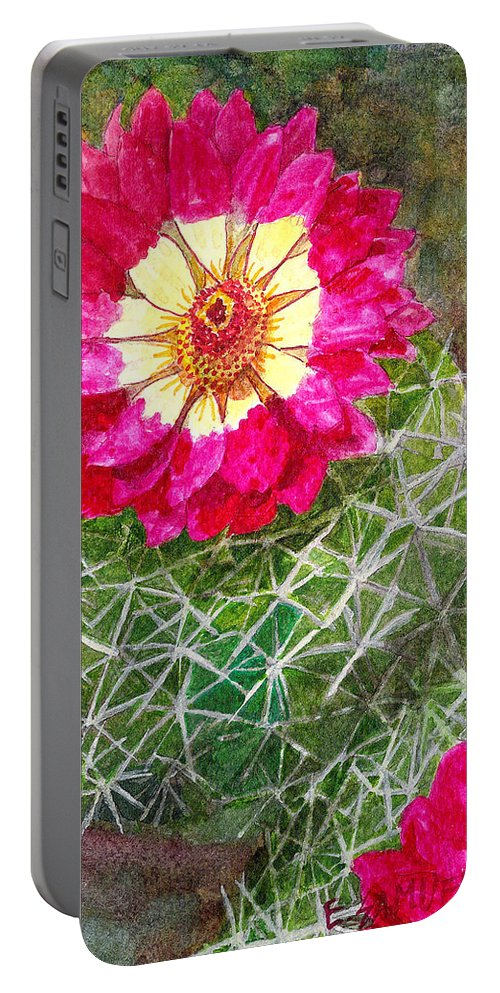 Cactus Portable Battery Charger featuring the painting Pincushion Cactus by Eric Samuelson