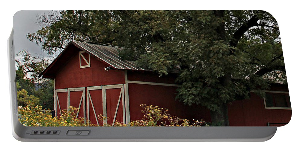 Portable Battery Charger featuring the photograph Pine Barn by Matalyn Gardner
