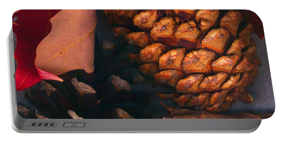 Pine Cones Portable Battery Charger featuring the photograph Pine Cones and Leaves by Nancy Mueller