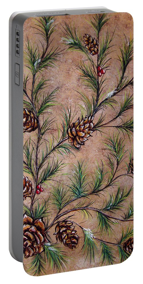 Acrylic Portable Battery Charger featuring the painting Pine Cones And Spruce Branches by Nancy Mueller
