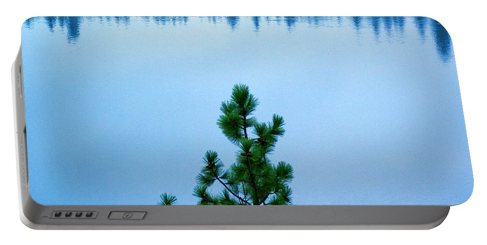 Pine Tree Portable Battery Charger featuring the photograph Pine On The River by Ben Upham III
