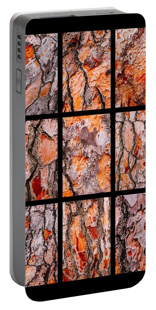 Australian Tree Bark Series By Lexa Harpell Portable Battery Charger featuring the photograph Pine Tree Bark Textures Portrait by Lexa Harpell