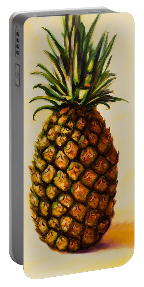 Pineapple Portable Battery Charger featuring the painting Pineapple Angel by Shannon Grissom