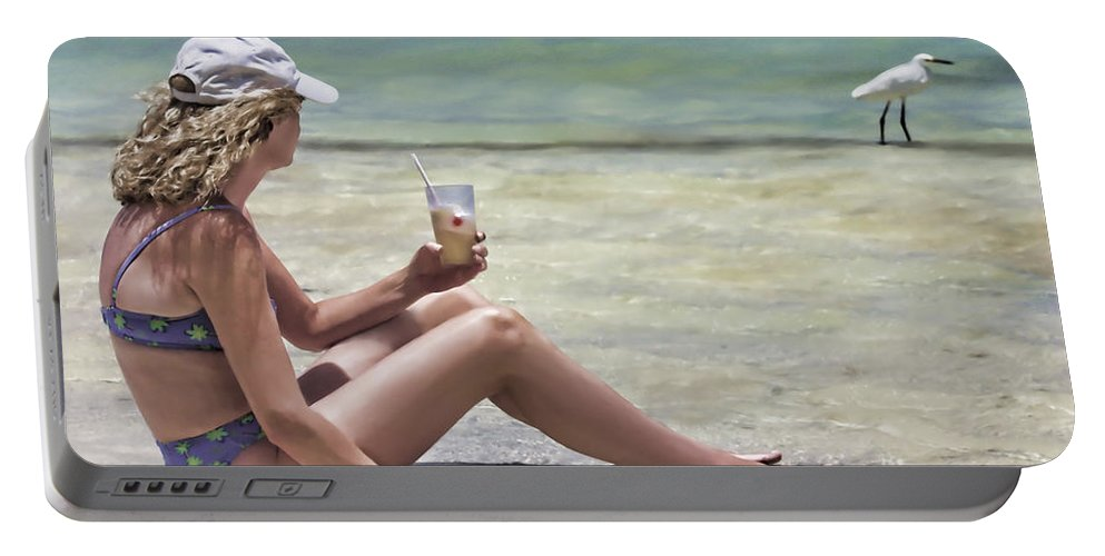 Drink Portable Battery Charger featuring the digital art Pineapple Daiquiri by John Edwards