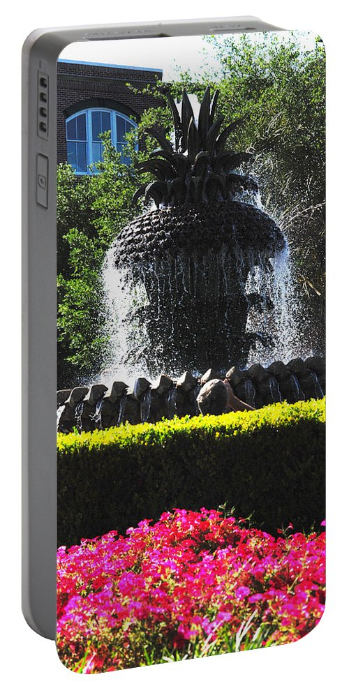 Photography Portable Battery Charger featuring the photograph Pineapple Fountain Charleston Sc by Susanne Van Hulst