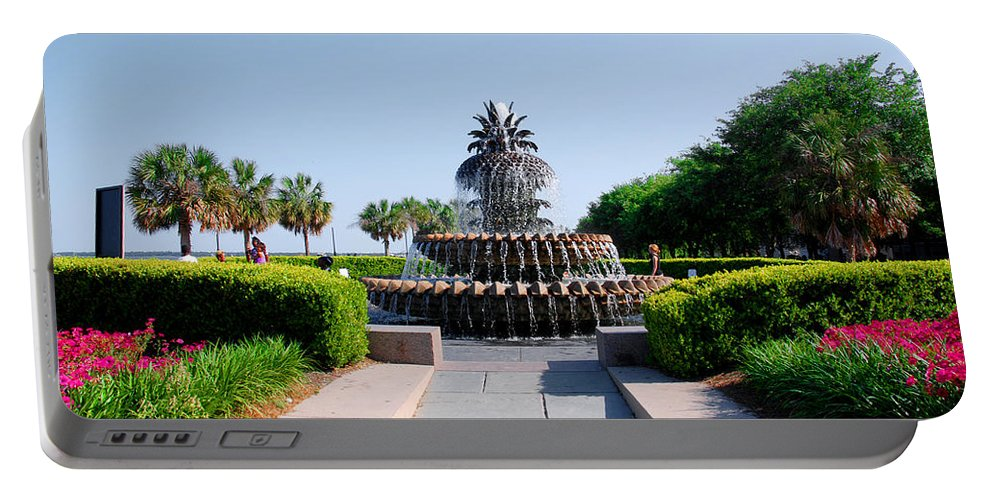 Photography Portable Battery Charger featuring the photograph Pineapple Fountain In Charleston by Susanne Van Hulst