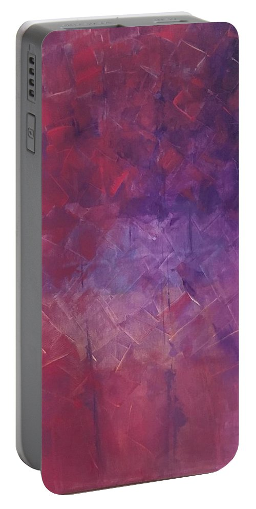 Landscaping Portable Battery Charger featuring the painting Pink Abstract by Karla Calaca
