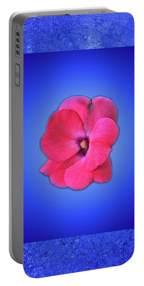 Flower Portable Battery Charger featuring the photograph Pink And Blue by Bob Welch