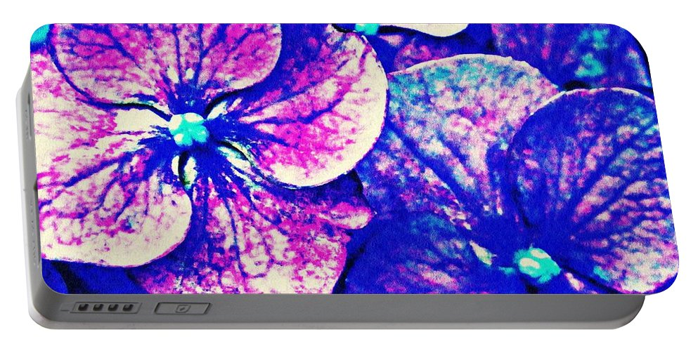 Pink And Blue Hydrangea Portable Battery Charger featuring the photograph Pink And Blue Hydrangea by Sarah Loft