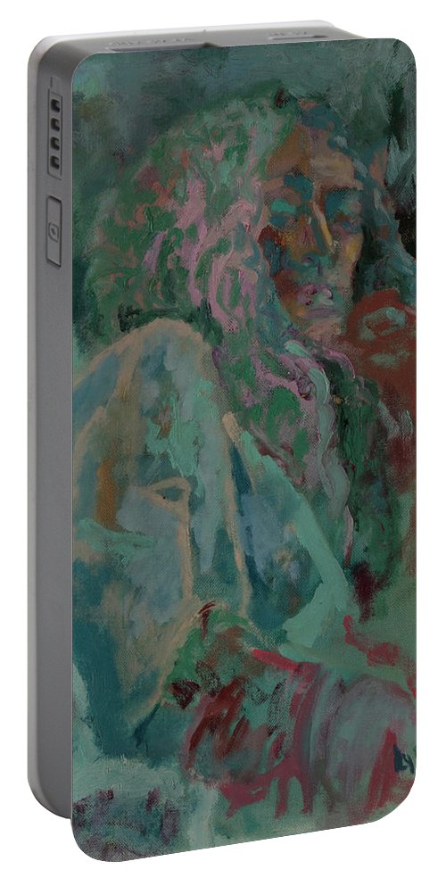 Portrait Portable Battery Charger featuring the painting Pink And Green Portrait by Lynne Guess