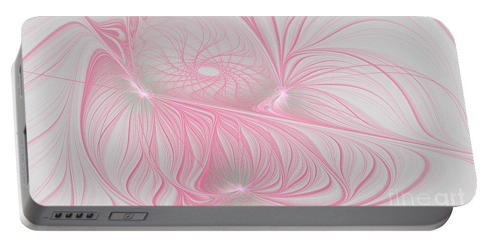 Fractal Portable Battery Charger featuring the digital art Pink Anyone by Deborah Benoit