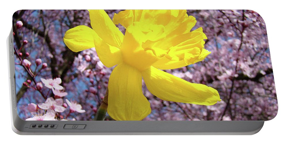 Nature Portable Battery Charger featuring the photograph Pink Blossom Spring Trees Yellow Daffodil Flower Baslee Troutman by Baslee Troutman