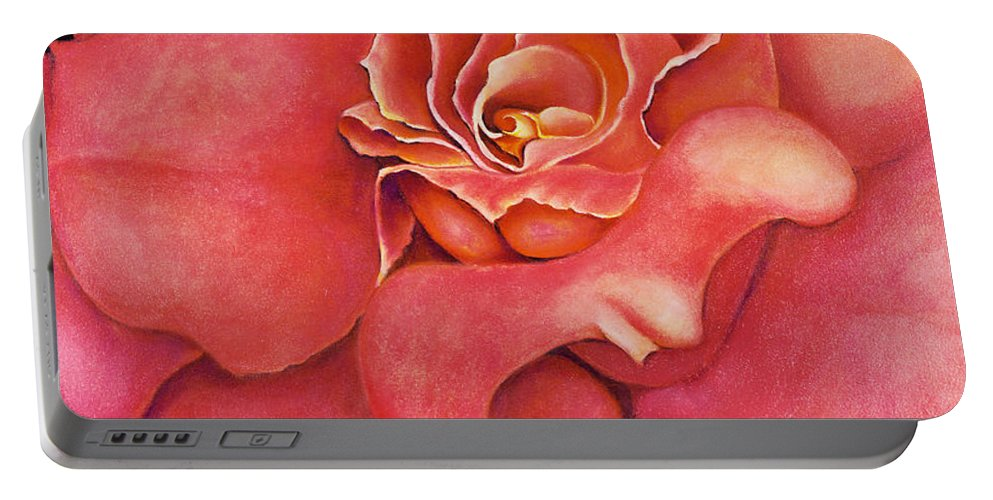 Rose.bloom Portable Battery Charger featuring the painting Pink Blush by Jordana Sands