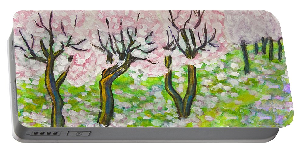 Art Portable Battery Charger featuring the painting Pink Cherry Garden In Blossom by Irina Afonskaya