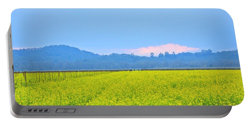 Mustard Portable Battery Charger featuring the photograph Pink Cloud Over The Mustard Fields by Tom Reynen