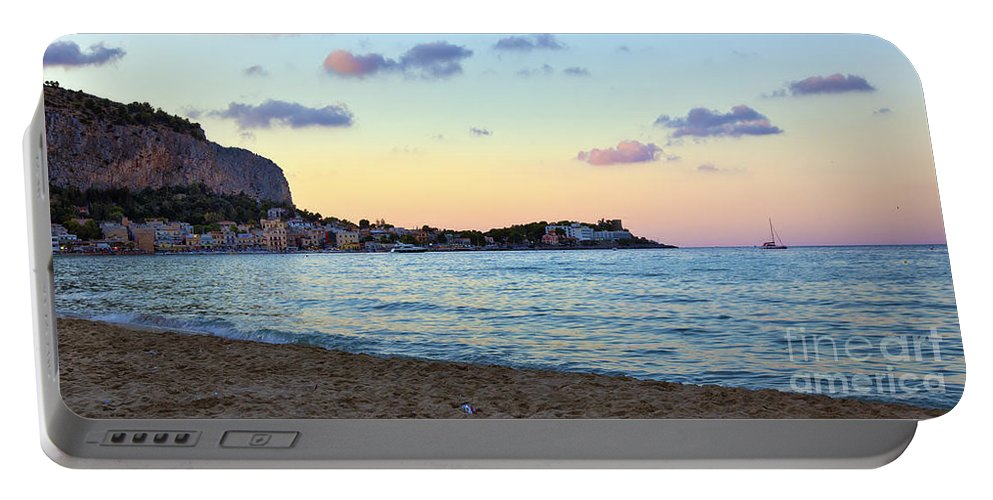 Mediterranean Portable Battery Charger featuring the photograph Pink Clouds Over Sicily by Madeline Ellis