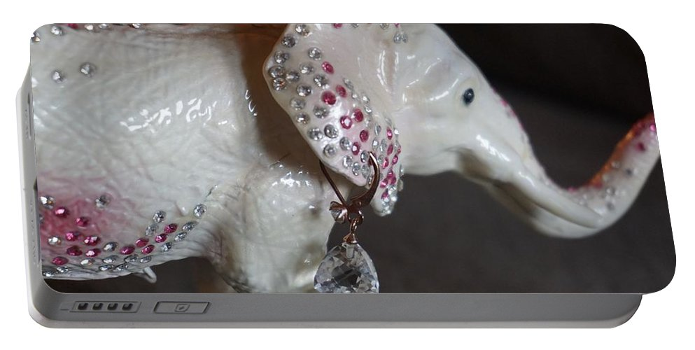 Elephant Portable Battery Charger featuring the photograph Pink Elliefont Earring by Susan Brown