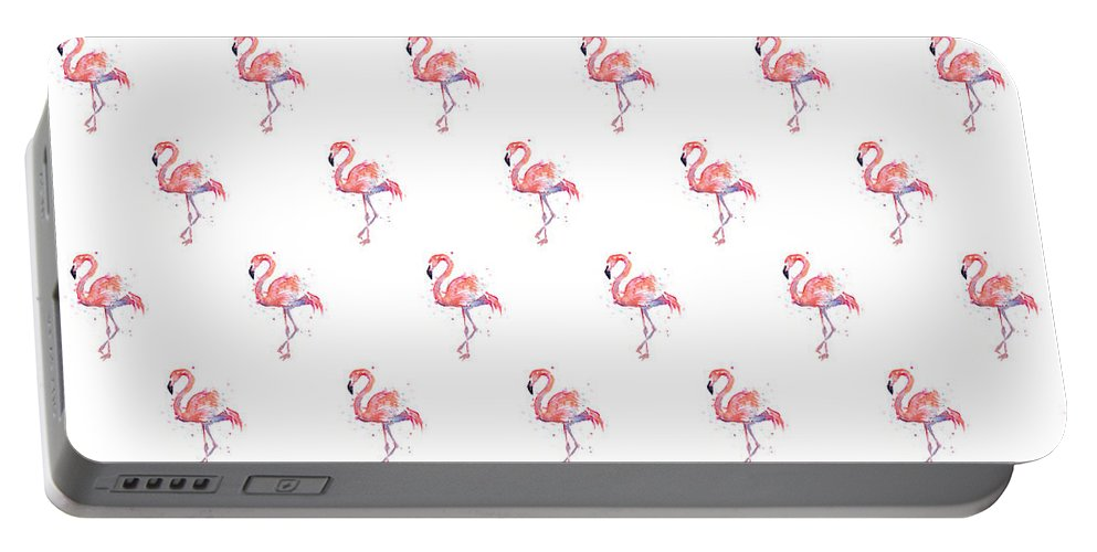 Pink Portable Battery Charger featuring the painting Pink Flamingo Watercolor Pattern by Olga Shvartsur