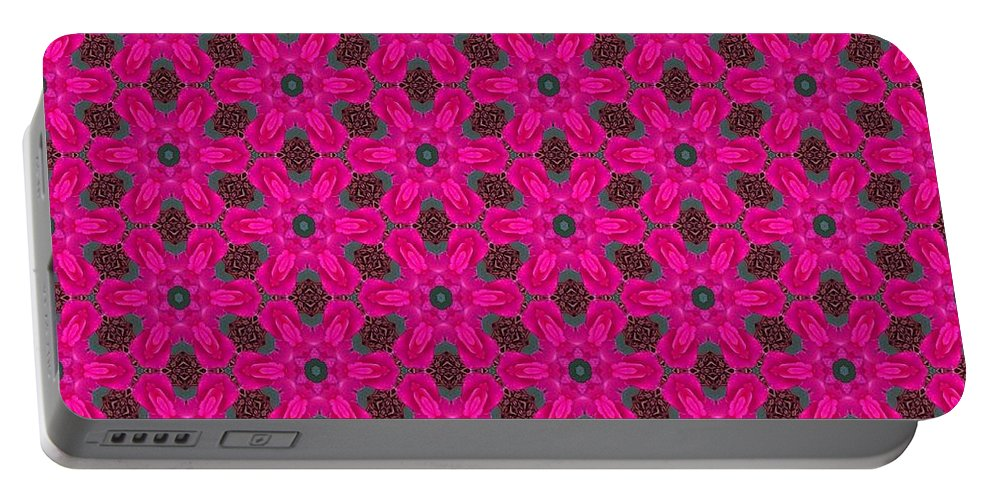 Portable Battery Charger featuring the digital art Pink Flowers by Kari Myres