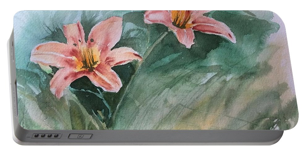 Watercolor Portable Battery Charger featuring the painting Pink Flowers by Katherine Berlin