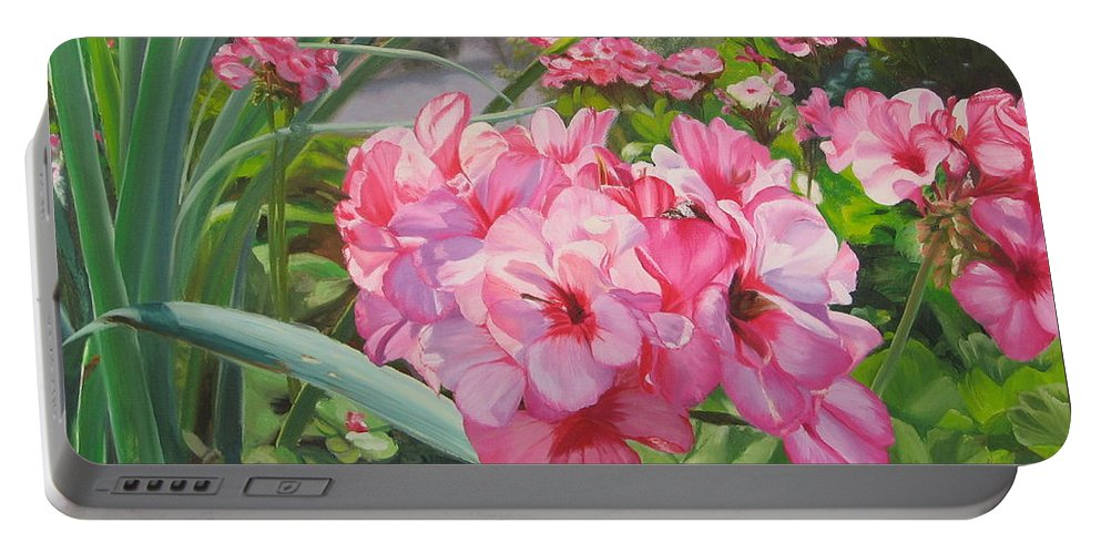 Pink Geraniums Portable Battery Charger featuring the painting Pink Geraniums by Lea Novak