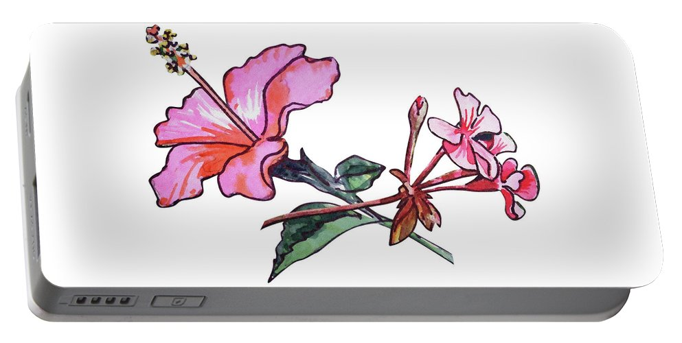 Hibiscus And Geranium Portable Battery Charger featuring the painting Pink Hibiscus And Geranium by Irina Sztukowski
